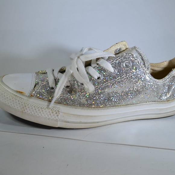 c9224f07410 Converse Shoes - Converse All Star Silver Glitter Ox Sparkle